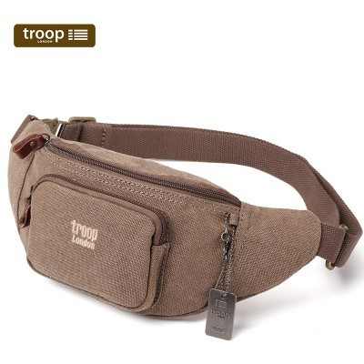 Troop London Classic Canvas Waist Bag In Brown