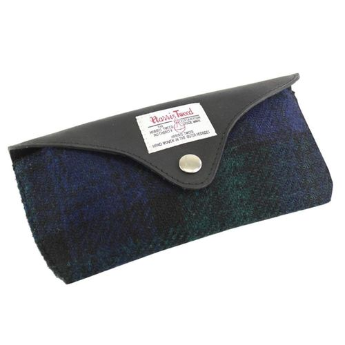British Bag Company Black Watch Tartan Harris Tweed And Leather Glasses Case
