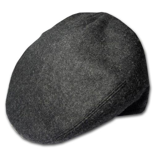 Charcoal Wool Plain Flat Cap In Small, Medium, Large, Extra Large