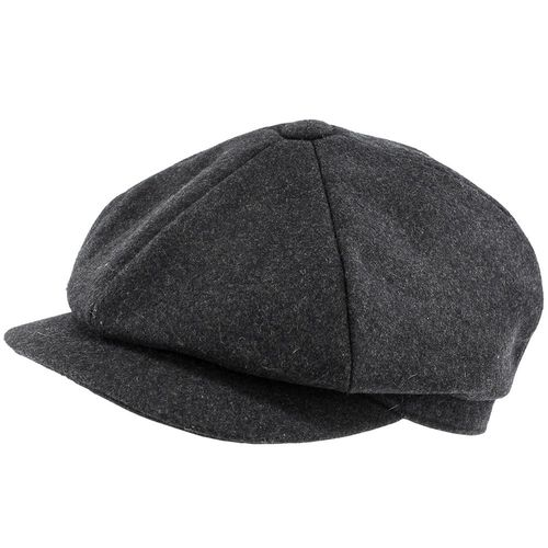 Charcoal Wool 6 Piece Flat Cap In Small, Medium, Large, Extra Large