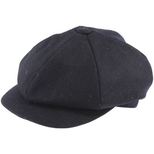 Black Wool 6 Piece Flat Cap In Small, Medium, Large, Extra Large