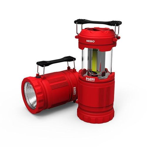 Nebo Poppy 300 Lumen Dimmable Combination Lantern Spot Light Torch In Red